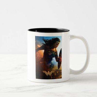 Wonder Woman Running on Battlefield Two-Tone Coffee Mug