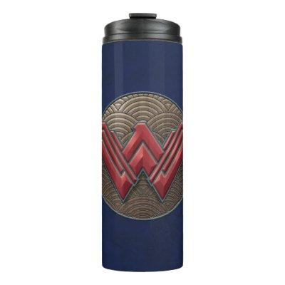 Wonder Woman Symbol Over Concentric Circles Thermal Tumbler