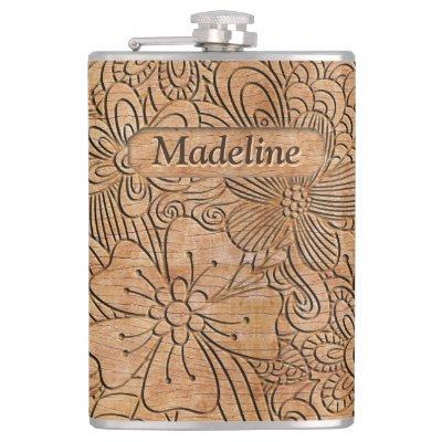 Wood Carvings Floral Pattern Personalized Flask