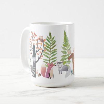 Woodland Animals Trees Greenery Forest 15 oz. Mugs