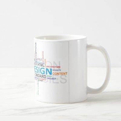 word cloud web design coffee mug