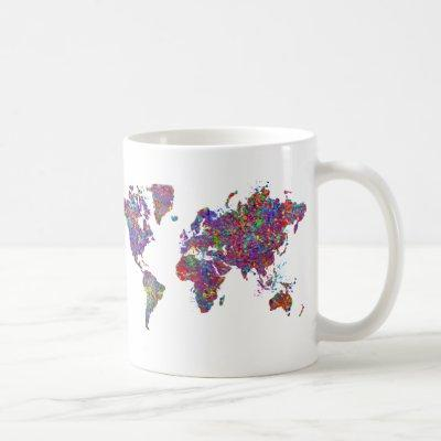 World Map, Action Painting Coffee Mug