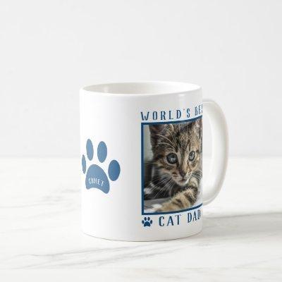 World's Best Cat Dad Blue Paw Print Name Pet Photo Coffee Mug