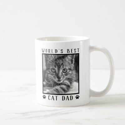 World's Best Cat Dad Paw Prints Black White Photo Coffee Mug