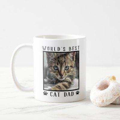 World's Best Cat Dad Paw Prints Pet Photo Frame Coffee Mug