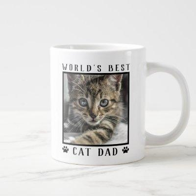 World's Best Cat Dad Paw Prints Pet Photo Giant Coffee Mug