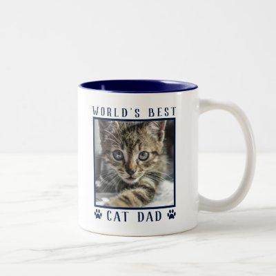 World's Best Cat Dad Paw Prints Pet Photo Navy Two-Tone Coffee Mug