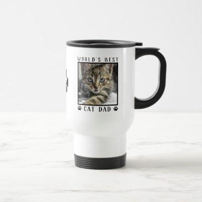 World's Best Cat Dad Paw Prints w/ Name Pet Photo Travel Mug