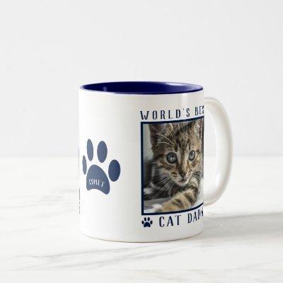 World's Best Cat Dad Photo Name Paw Prints Navy Two-Tone Coffee Mug