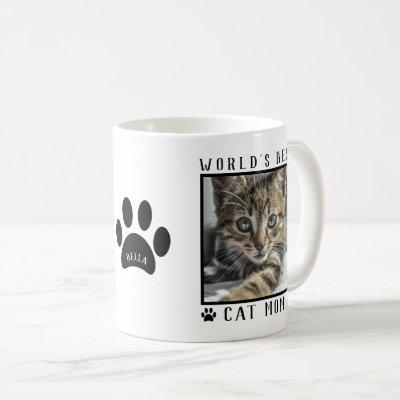 World's Best Cat Mom Paw Prints Name Pet Photo Coffee Mug