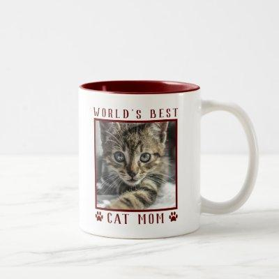 World's Best Cat Mom Paw Prints Pet Photo Burgundy Two-Tone Coffee Mug
