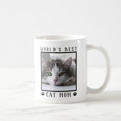 World's Best Cat Mom Paw Prints Pet Photo Frame Coffee Mug