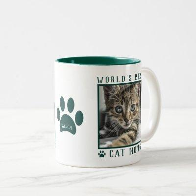World's Best Cat Mom Photo Name Paw Prints Green Two-Tone Coffee Mug