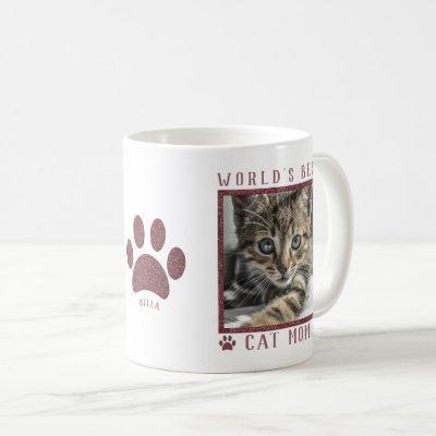 World's Best Cat Mom Rose Gold Glitter Paws Photo Coffee Mug