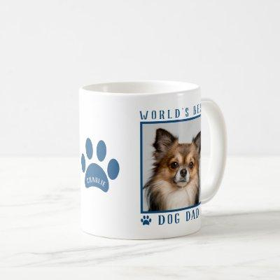 World's Best Dog Dad Blue Paw Print Name Pet Photo Coffee Mug