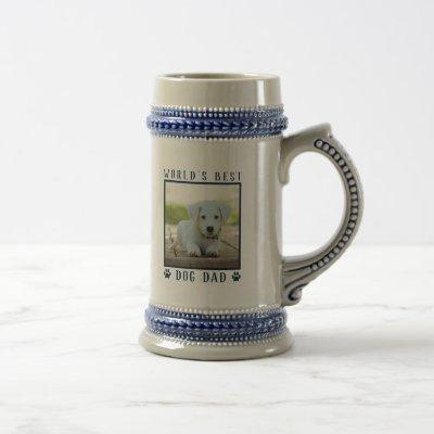 World's Best Dog Dad Blue Paw Prints Name Photo Beer Stein