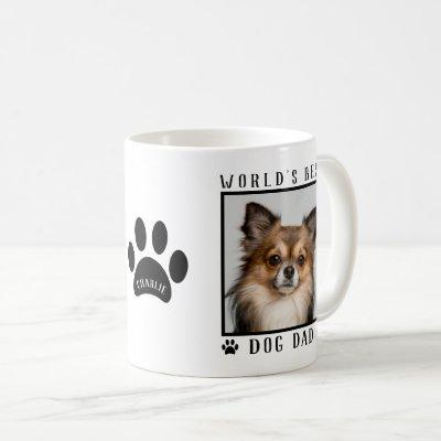 World's Best Dog Dad Paw Prints Name Pet Photo Coffee Mug