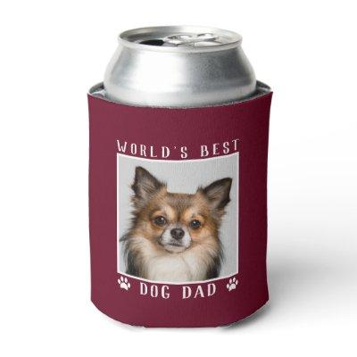 World's Best Dog Dad Paw Prints Pet Photo Burgundy Can Cooler