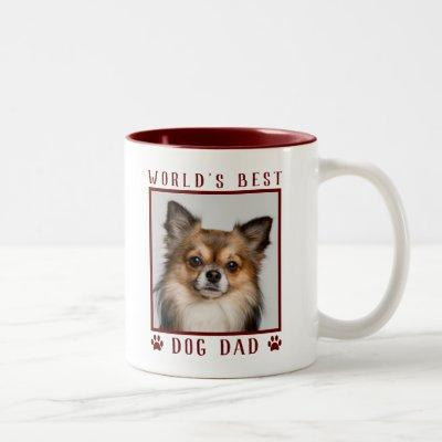 World's Best Dog Dad Paw Prints Pet Photo Burgundy Two-Tone Coffee Mug