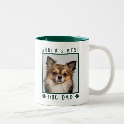 World's Best Dog Dad Paw Prints Pet Photo Green Two-Tone Coffee Mug