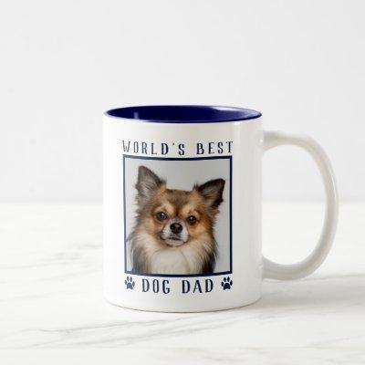 World's Best Dog Dad Paw Prints Pet Photo Navy Two-Tone Coffee Mug