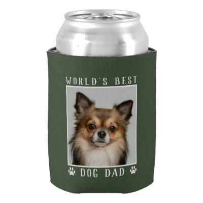 World's Best Dog Dad Paw Prints Pet Photo on Green Can Cooler