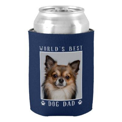 World's Best Dog Dad Paw Prints Pet Photo on Navy Can Cooler