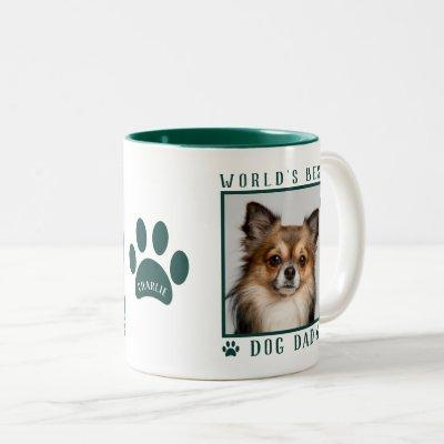 World's Best Dog Dad Photo Name Paw Prints Green Two-Tone Coffee Mug