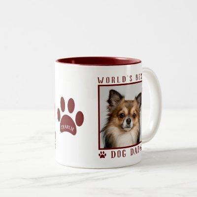 World's Best Dog Dad Photo Name Paw Prints Maroon Two-Tone Coffee Mug