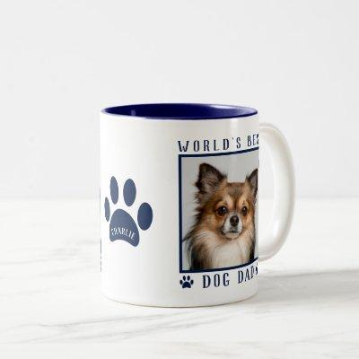 World's Best Dog Dad Photo Name Paw Prints Navy Two-Tone Coffee Mug