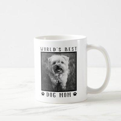 World's Best Dog Mom Paw Prints Black White Photo Coffee Mug