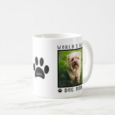 World's Best Dog Mom Paw Prints Name Pet Photo Coffee Mug