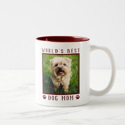 World's Best Dog Mom Paw Prints Pet Photo Burgundy Two-Tone Coffee Mug