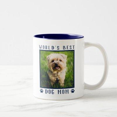 World's Best Dog Mom Paw Prints Pet Photo Navy Two-Tone Coffee Mug