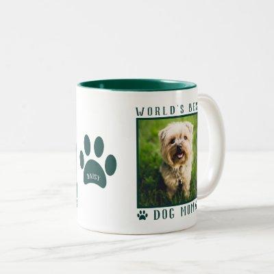 World's Best Dog Mom Photo Name Paw Prints Green Two-Tone Coffee Mug