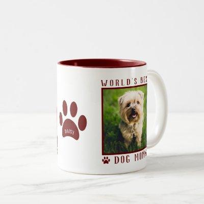 World's Best Dog Mom Photo Name Paw Prints Maroon Two-Tone Coffee Mug