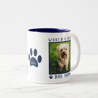 World's Best Dog Mom Photo Name Paw Prints Navy Two-Tone Coffee Mug