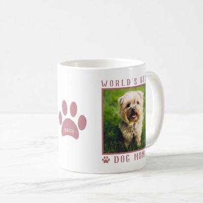 World's Best Dog Mom Photo Name Paw Prints Pink Coffee Mug