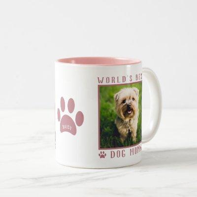 World's Best Dog Mom Photo Name Paw Prints Pink Two-Tone Coffee Mug