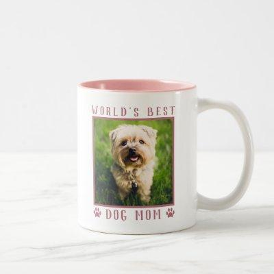 World's Best Dog Mom Pink Paw Prints Pet Photo Two-Tone Coffee Mug