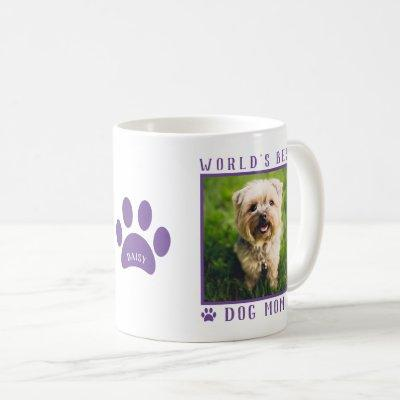 World's Best Dog Mom Purple Paws Name Pet Photo Coffee Mug