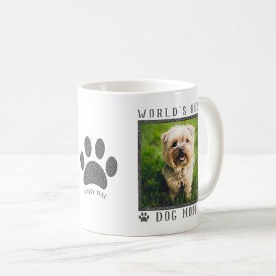 World's Best Dog Mom Silver Glitter Paws Pet Photo Coffee Mug