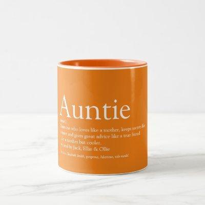 World's Best Ever Aunt, Auntie Definition Orange Two-Tone Coffee Mug