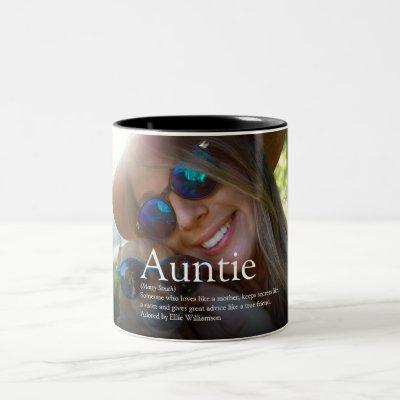 World's Best Ever Aunt, Auntie Definition Photo Two-Tone Coffee Mug