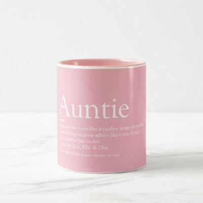 World's Best Ever Aunt, Auntie Definition Pink Two-Tone Coffee Mug
