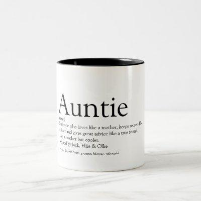 World's Best Ever Aunt, Auntie Definition Two-Tone Coffee Mug