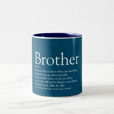 World's Best Ever Brother Definition Fun Blue Two-Tone Coffee Mug