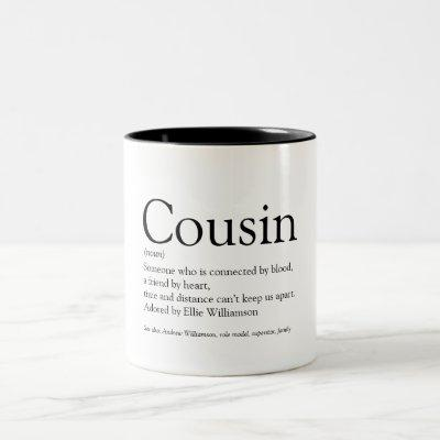 World's Best Ever Cousin Definition Two-Tone Coffee Mug
