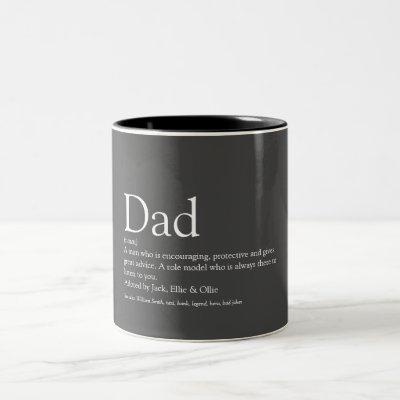 World's Best Ever Dad, Daddy, Father Definition Two-Tone Coffee Mug