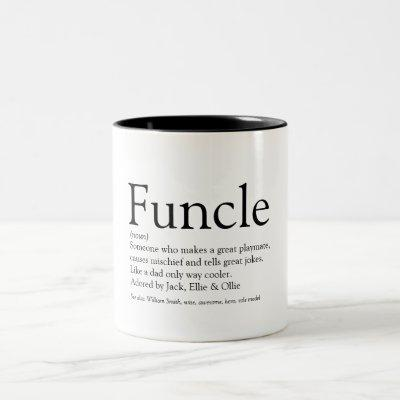 World's Best Ever Funcle, Uncle Modern Definition Two-Tone Coffee Mug
